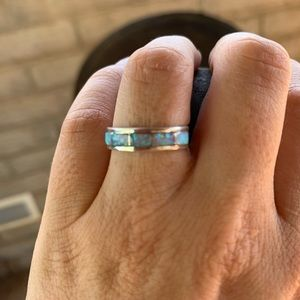Zuni Sterling Silver Opal Stacker Ring